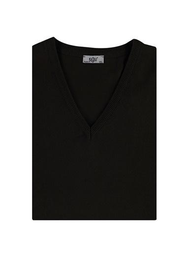 Kiğılı V Yaka King Size Triko Kazak Siyah